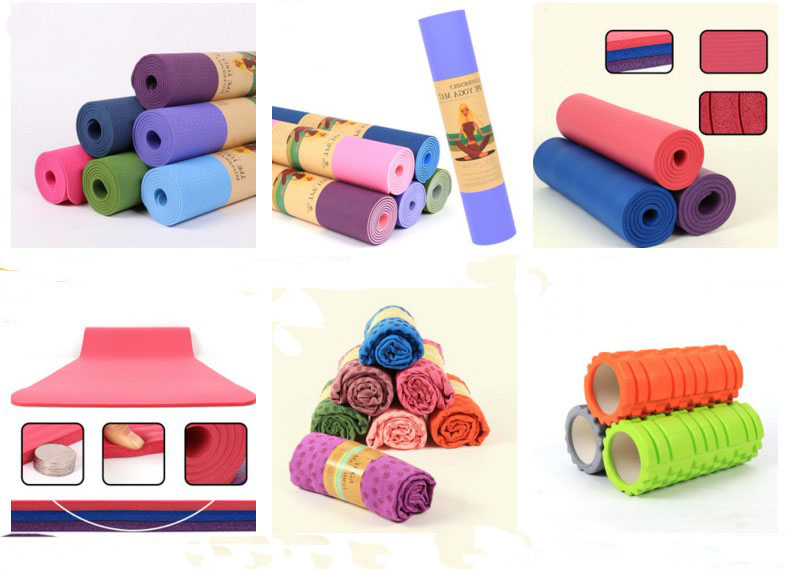 Navy blue Double layers Two-tone Eco-friendly Softextile TPE Yoga Mat