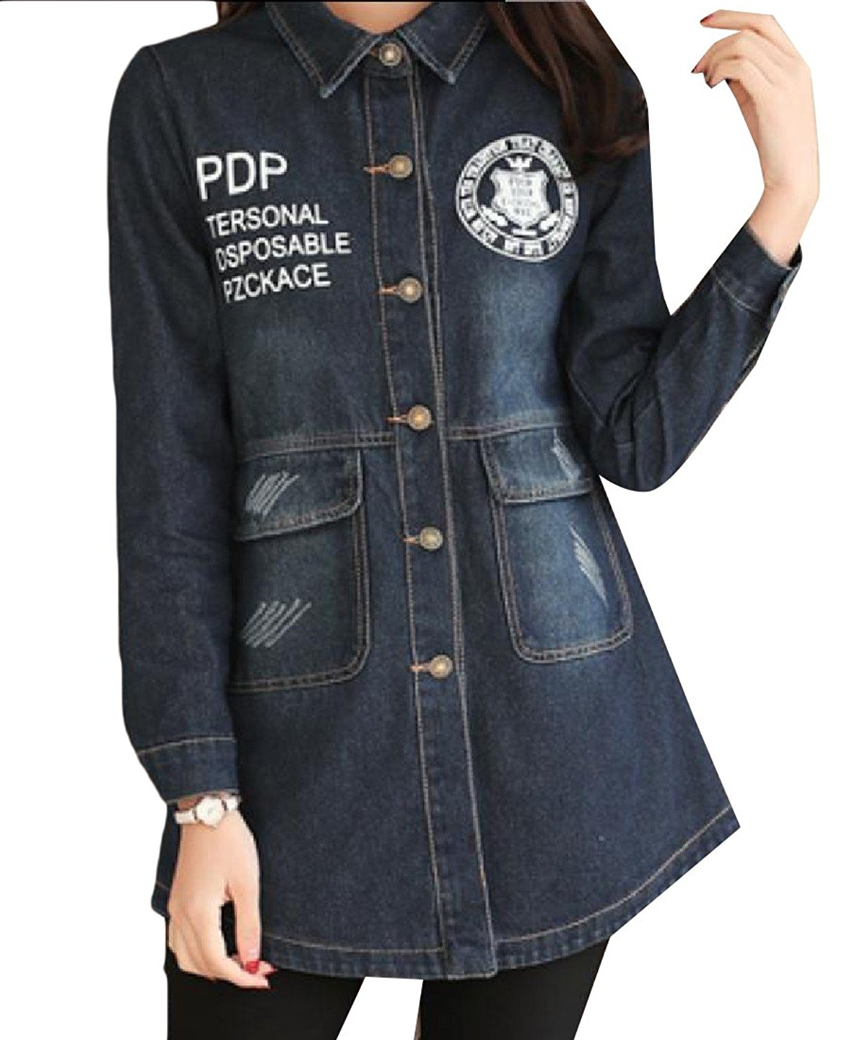 Sheng Xi Womens Letters Printed Button Pockets Slim Fit Jean Coat