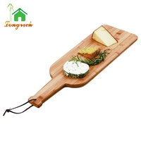 Rectangle Bamboo Food Serving Board Dessert Platter Pizza Cheese Cutting Board with Handle