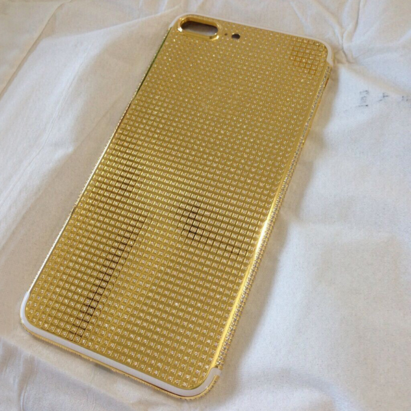For iphone 7 Plus gold housing full diamond,24k real gold plated cell phone housing