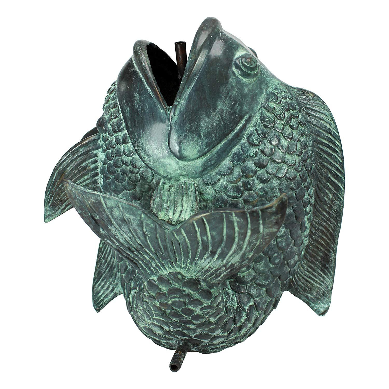 Design Toscano Medium Asian Dancing Fish Cast Bronze Spitting Garden Statue