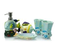 cute sea animal bathroom accessories set, resin toilet accessories set, resin bathroom set