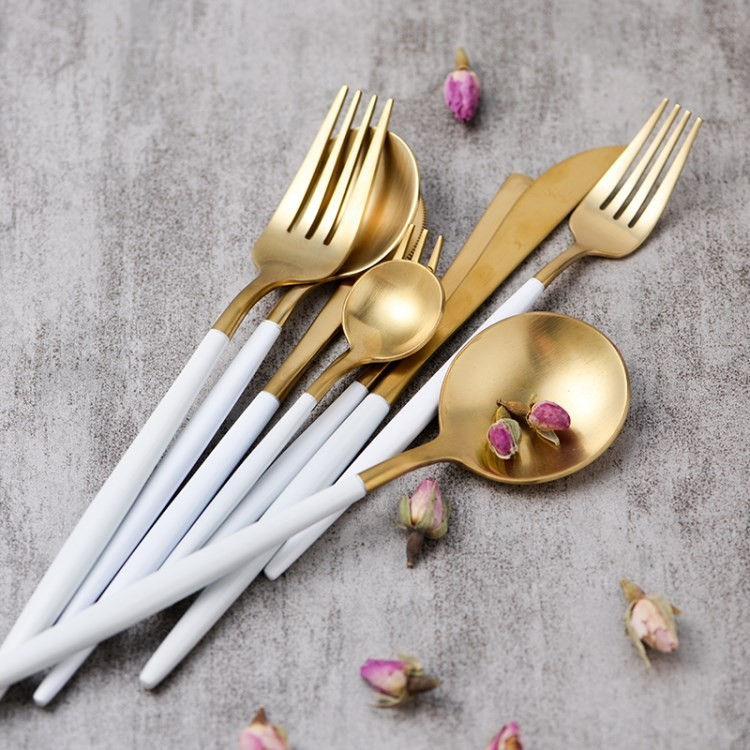 Gold Plated 10 Piece Brass Flatware Set Cutlery Tableware For Weddings Hotel Supplies Free Shipping
