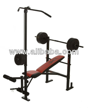 Multi Purpose Exercise Bench With Lat Pulldown, Leg Extension, Leg Curl And  Olympic Stands
