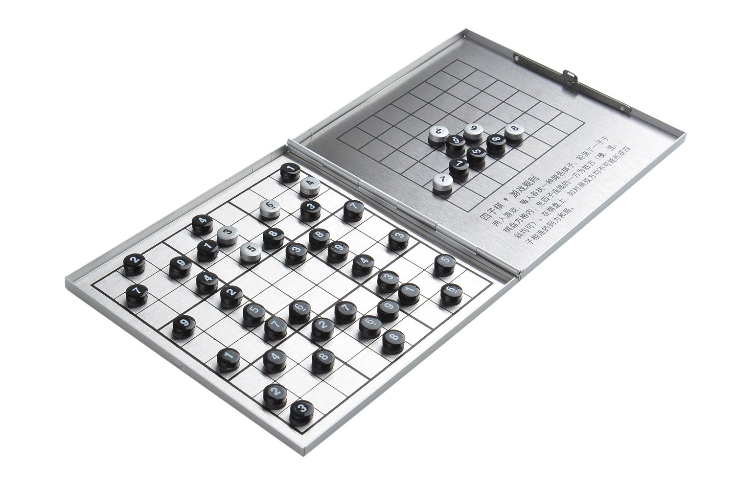"""Azerus Alu Line: Aluminum Leather Box """"Game set 3-in-1"""": Sudoku, Solitaire (Peg Solitaire or Sailor's Solitaire), Connect Four - with magnetic game pieces, game board 4.13"""" x 4.13"""" x 0.28"""" (10,5cm x 10,5cm x 0,7cm), Mod. XY006P3 (US)"""
