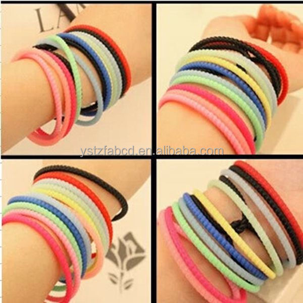 Rainbow Silicone Rubber Band Hair Bracelet Wristband