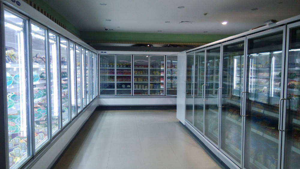 Supermarket Walk In Refrigerator Glass Door Cooler
