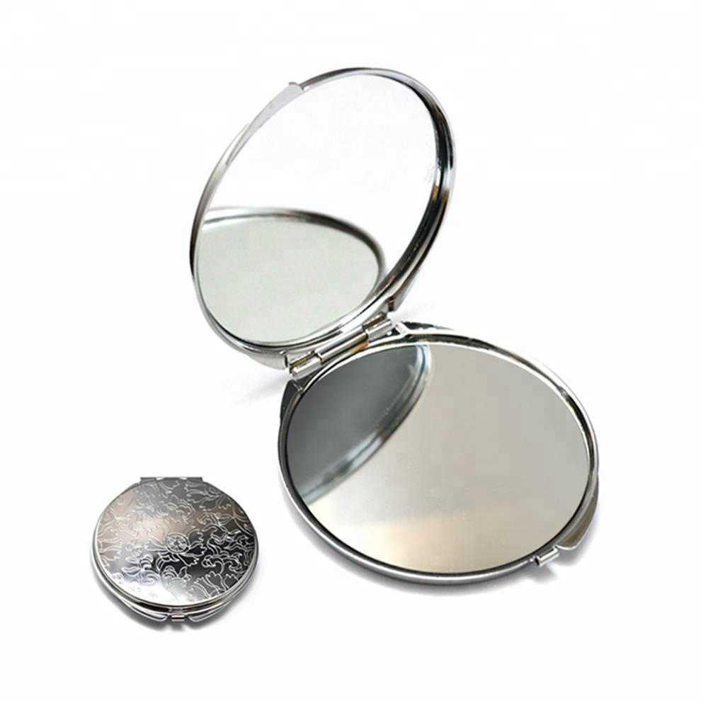 Customized design gift items vanity make up mirror round pocket metal folding mirror