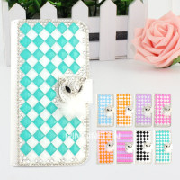 Luxury wallet style bling bling leather crystal diamond case for iphone 5se