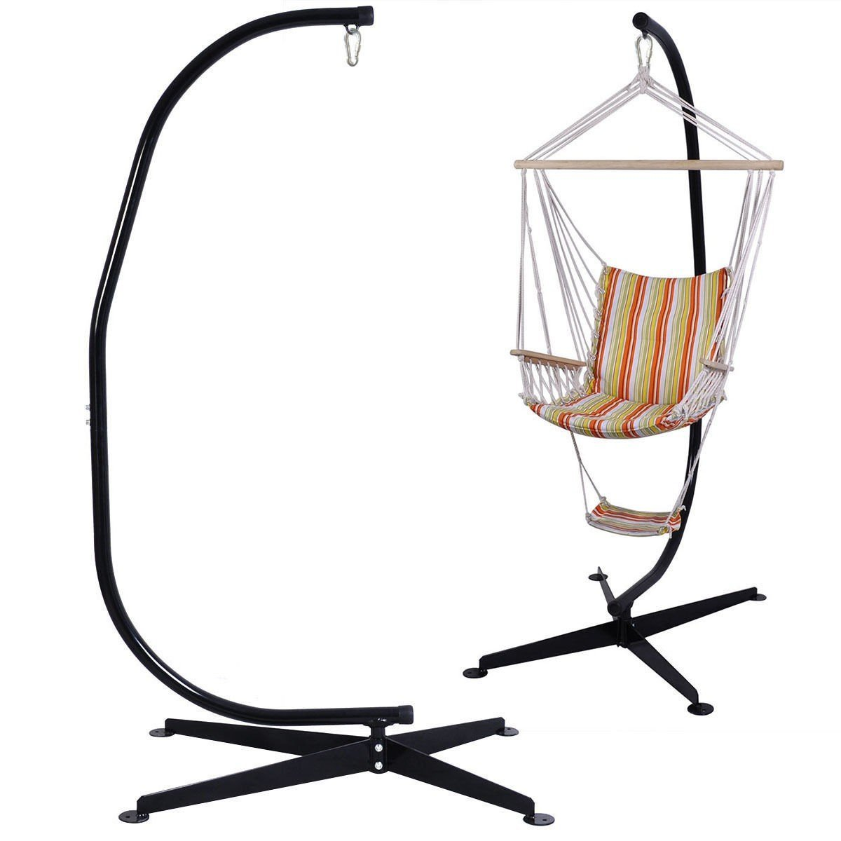 Solid Steel C Hammock Frame Stand Construction Hammock Air Porch Swing Chair New - Ideal For All Indoor And Outdoor Surface - Works With Most Air Chairs -Black Powder Coated Rust Resistant Finish