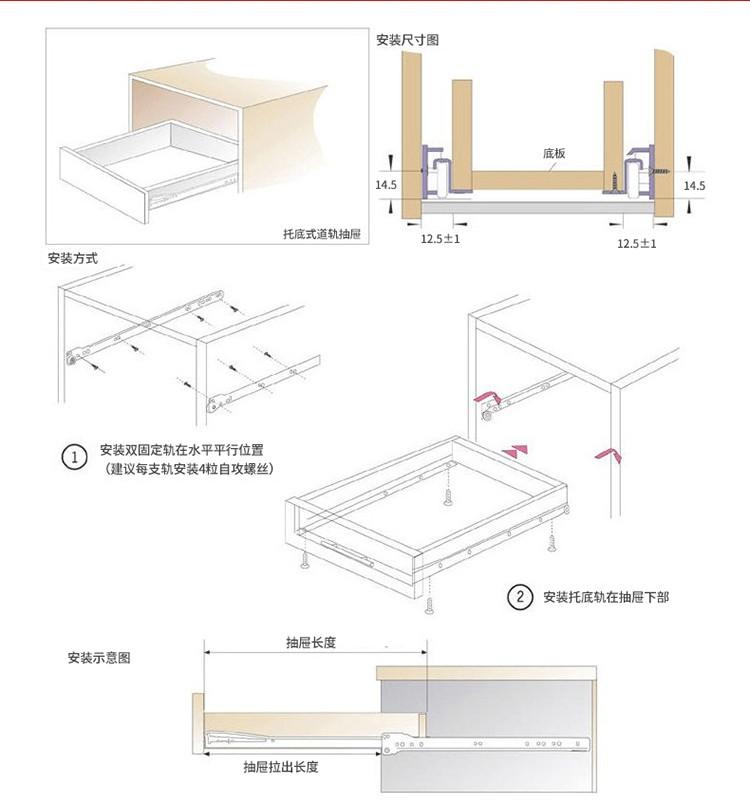 FGV type european kitchen cabinet undermount roller slides