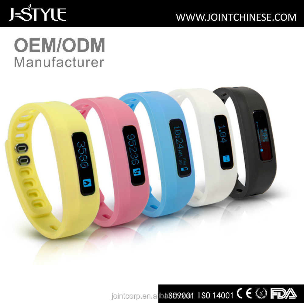 J-Style Bluetooth vibrating fitness tracker band smart wearable device with call & message reminder