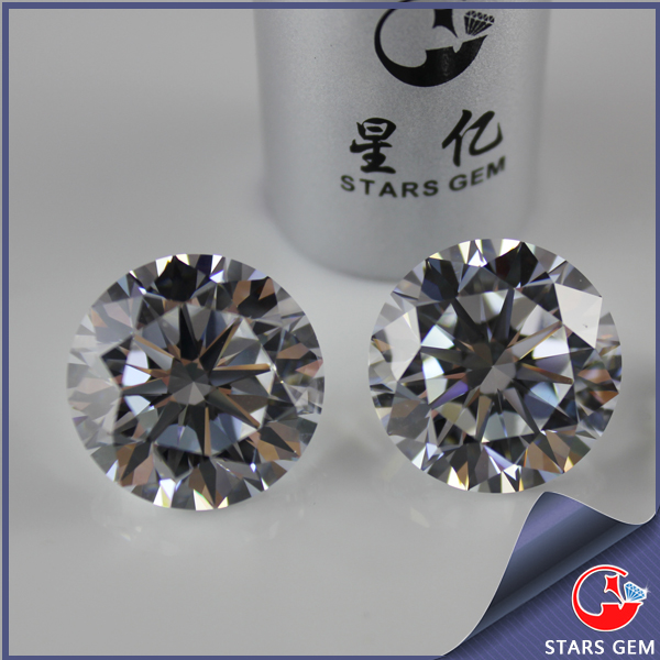 high quality clear white loose gemstones Korea machine cut cubic zirconia