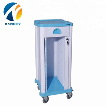 AC-RT009 Hospital medical plastic patient case record trolley cart for sale