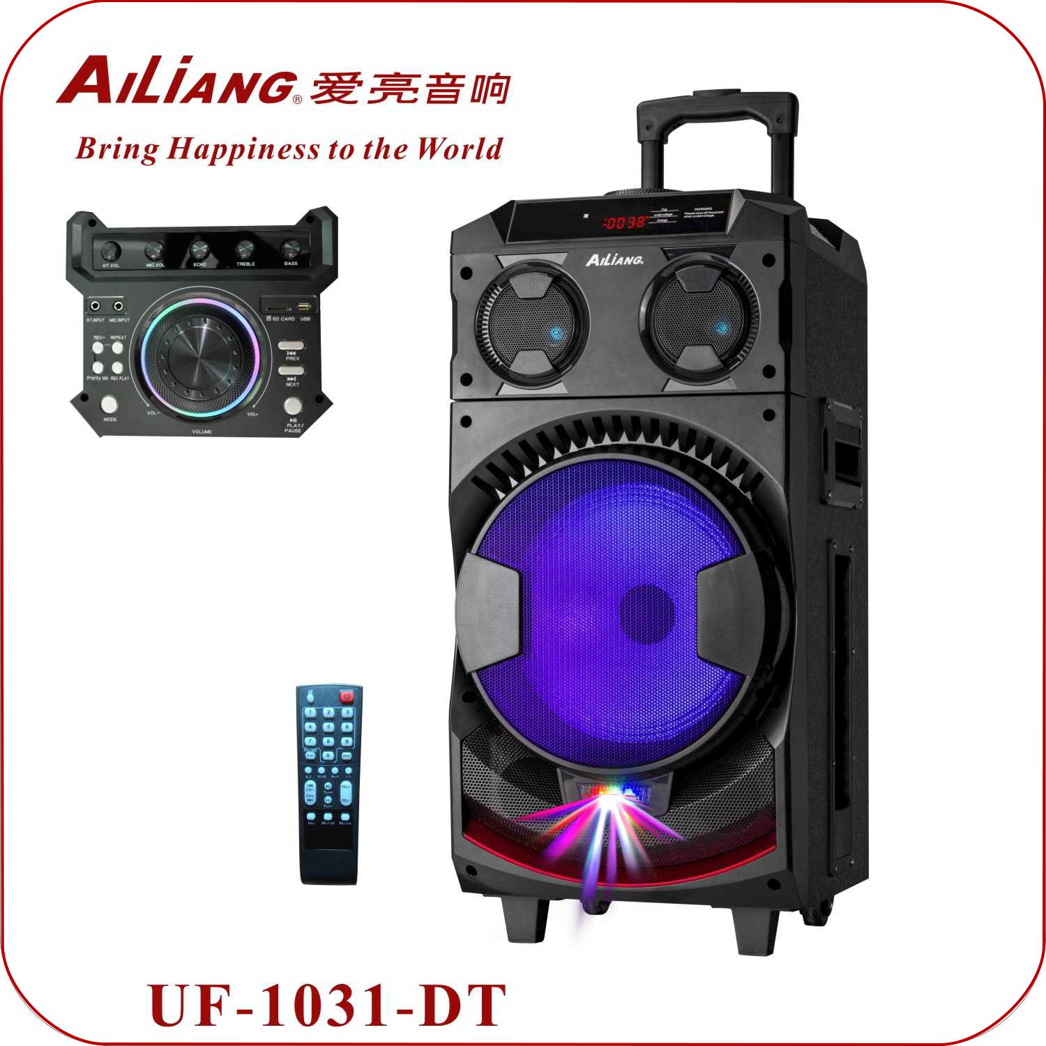 AILIANG DJ-1031 10 inch woofer trolley speaker with battery