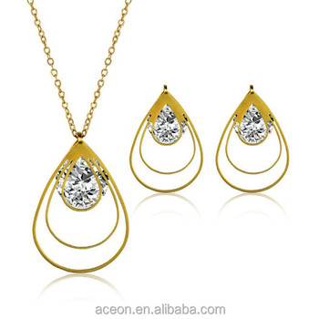 Yiwu Aceon Stainless Steel Gold Cubic Zirconia Bridal Wedding Jewelry Set