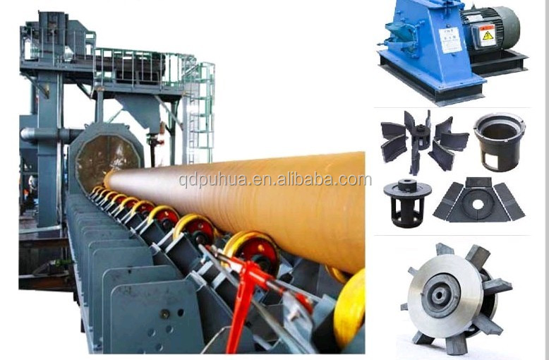 Puhua QGW steel pipe shot blasting cleaning machine for big steel pipes  tubes