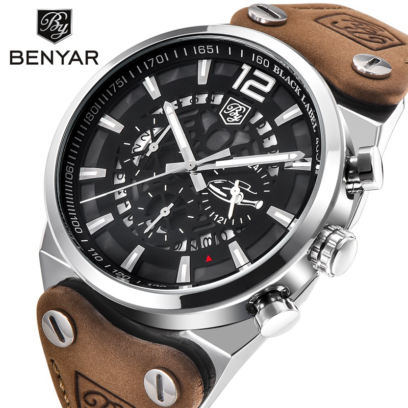 BENYAR Wristwatches 5112 design Chronograph Sport Mens Watches Fashion Brand Military waterproof Quartz Watch Clock