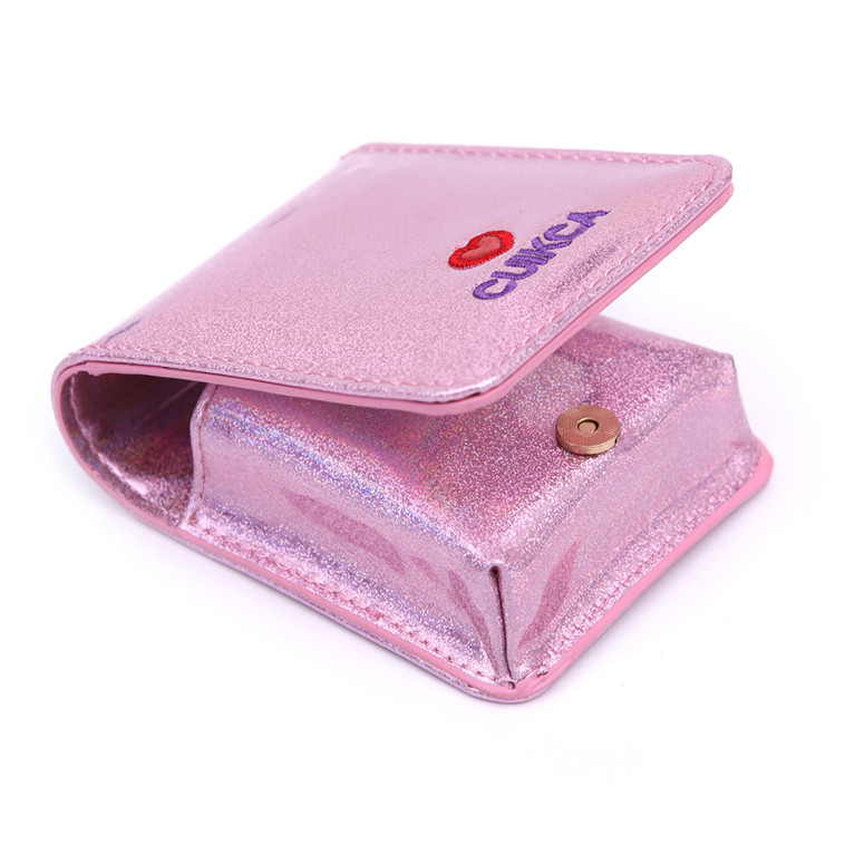 China Yiwu Manufacture Wholesale Leather Slim Wallet Women makeup bag lady cosmetic bag small mini laser storage bag