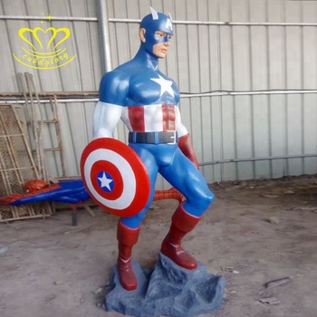 High Quality Customized Fiberglass New Product Sculpture Life Size Movie Action Figure Captain America Statue