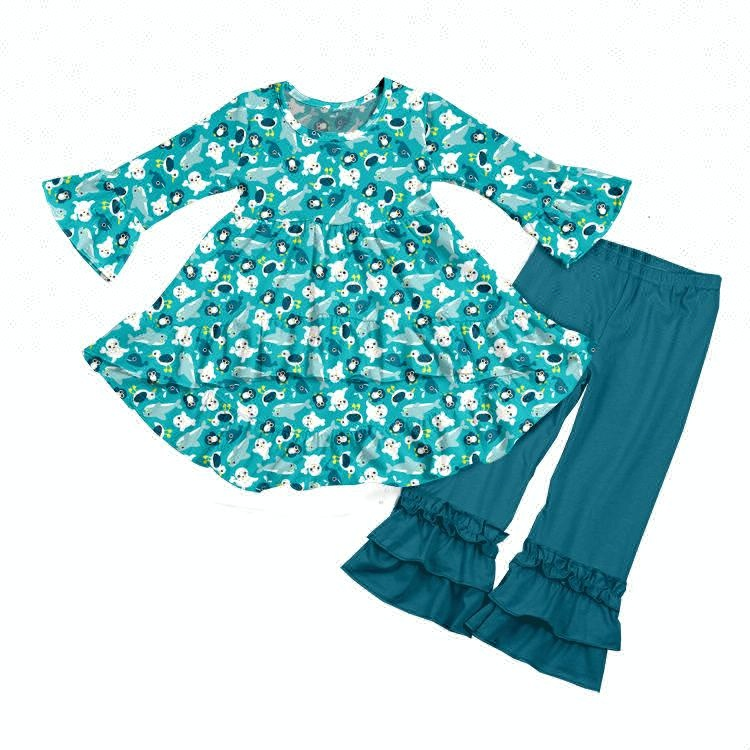 3d6aeda3ca9444 Yawoo leuke dier afdrukken kleding set baby meisjes 2 stks mooie winter  sets kinderen hot koop