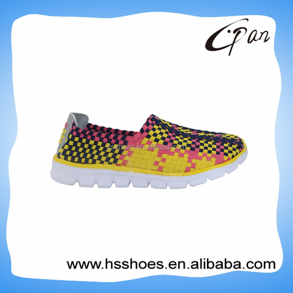 Fashion design fancy woven elastic upper footwear