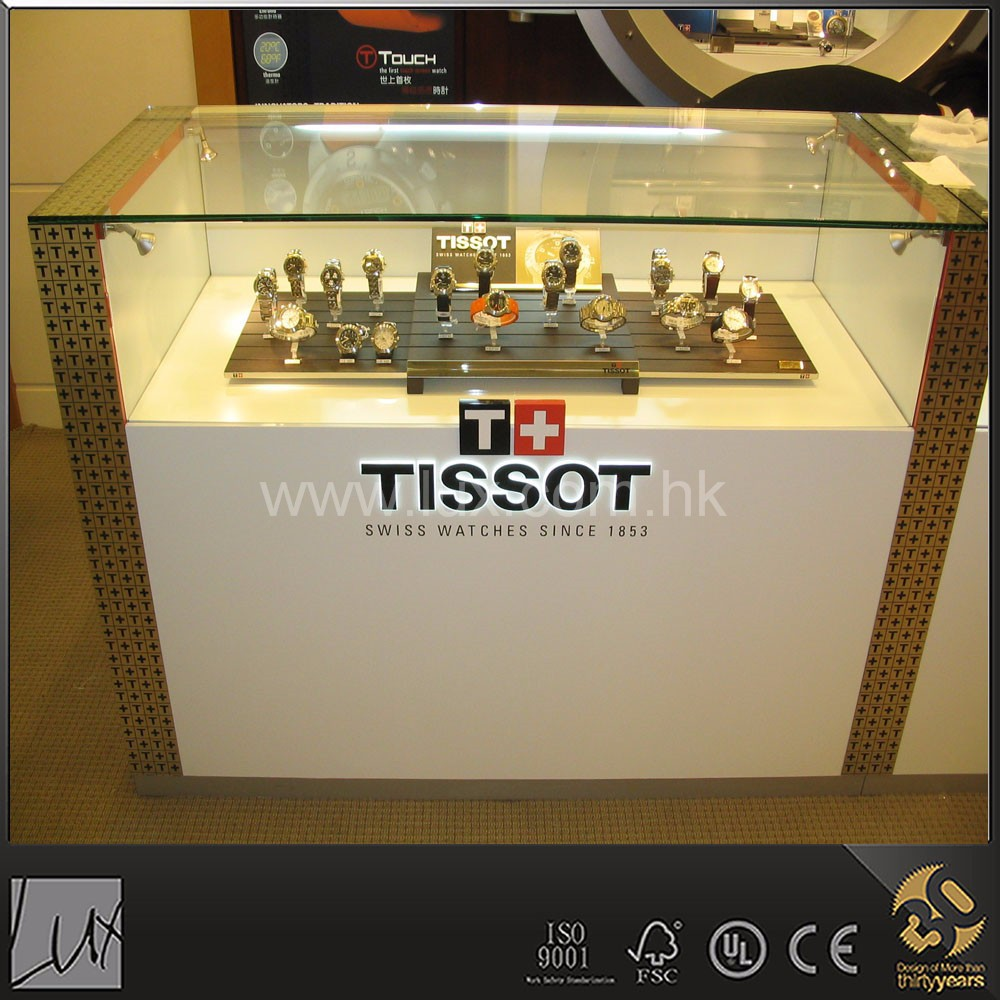 Modern metal decorative edge glass watch display showcase