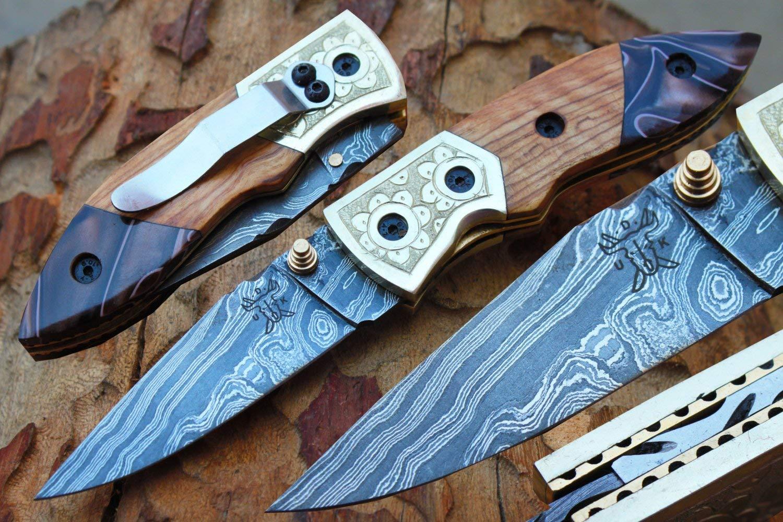 "Damascus 3.0"" Folding knife w/Steel Engraved Bolsters, Clip, File-Work,Liner Lock,Rose Wood,Kirinite & Sheath cover UDK-A-D-F-43"