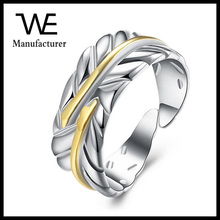 Hot Sale Gold and Siver Color Stainless Steel Adjustable Feather Ring