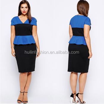 2014 Fashionable Color Block Bodycon Dress For Fat Women Dress ...