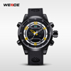 WEIDE Digital Analog Dual Time Date Day Alarm Silicone Strap Outdoor Black Red Quartz Wrist Military Men's Sports Watch /WH3315
