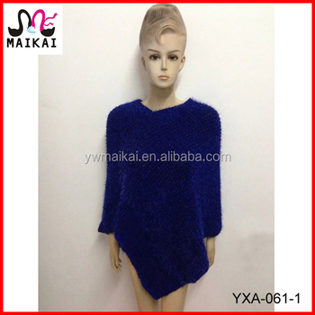 Mexican Womens Knitted Pattern Acrylic Fur Poncho Buy Fur Poncho