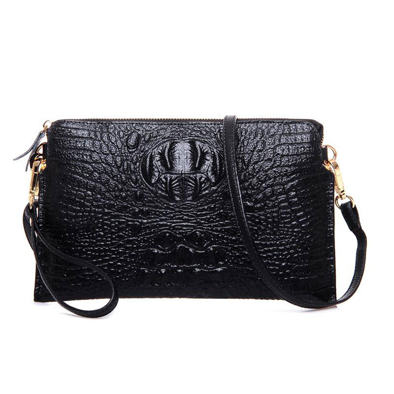 Get Quotations · 2015 New Genuine Leather Cowhide Crocodile Pattern  Crossbody Bags For Women Rose Evening Bag Black Clutch 0e0fe690e386