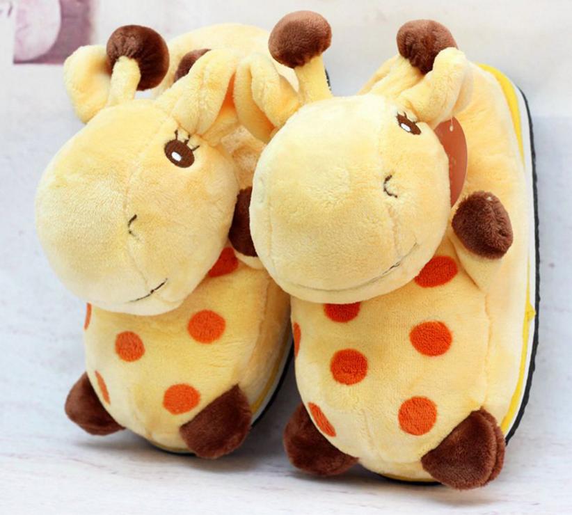 Cartoon giraffe soft animals plush keep warm slippers