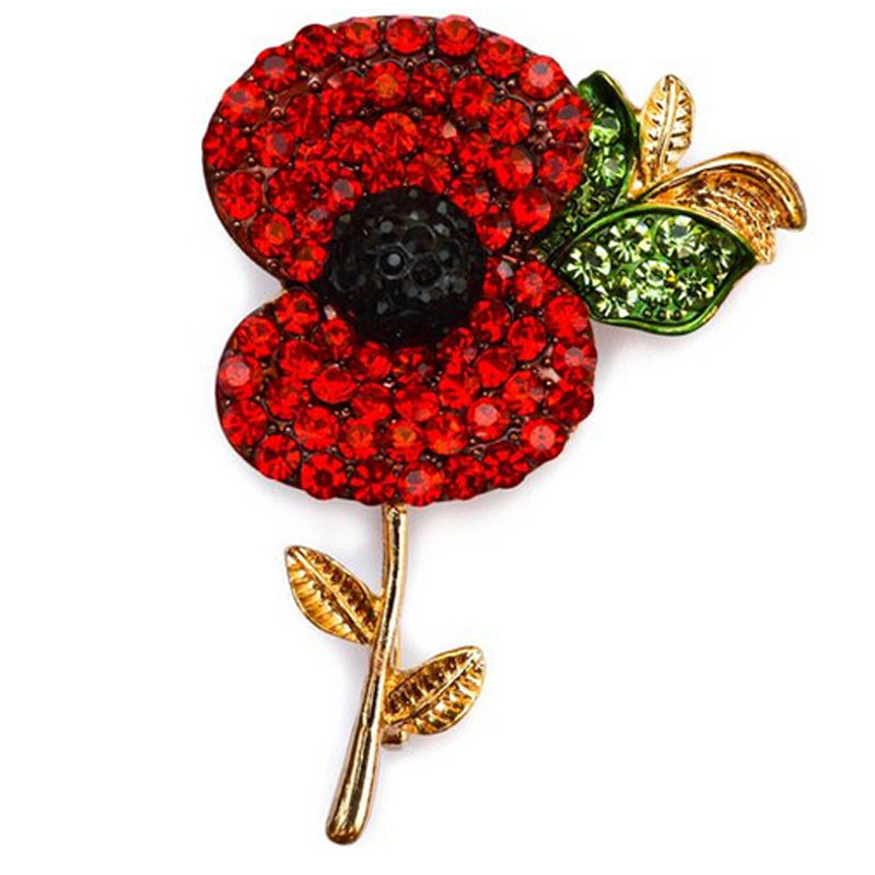 Gofuly 2015 Hot Sale High Quality Crystal Brooch Red Crystal Poppy Gold Plated Alloy Brooch With Elements Free Shipping