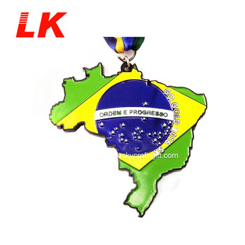 high quality cheap custom metal enamel colorful Brazil 5k medal