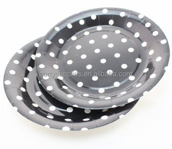 Food Safe Black Dotted Paper Plates Round Party Dishes