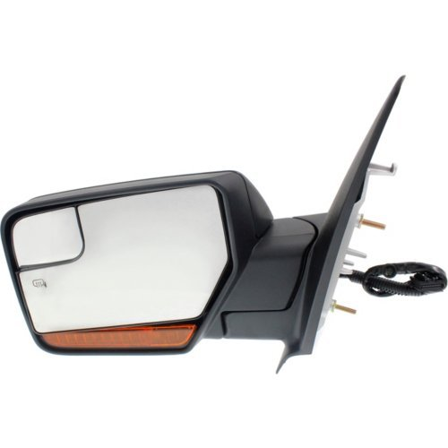 Fit System 61214F Ford Excursion Left Black Heated Power Super Duty Replacement Towing Mirror with PTM Cover