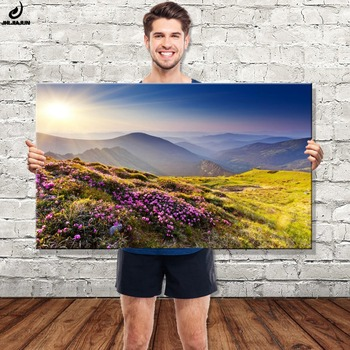 Wholesale led canvas wall art landscape painting lighted up stretched and framed art work for living room