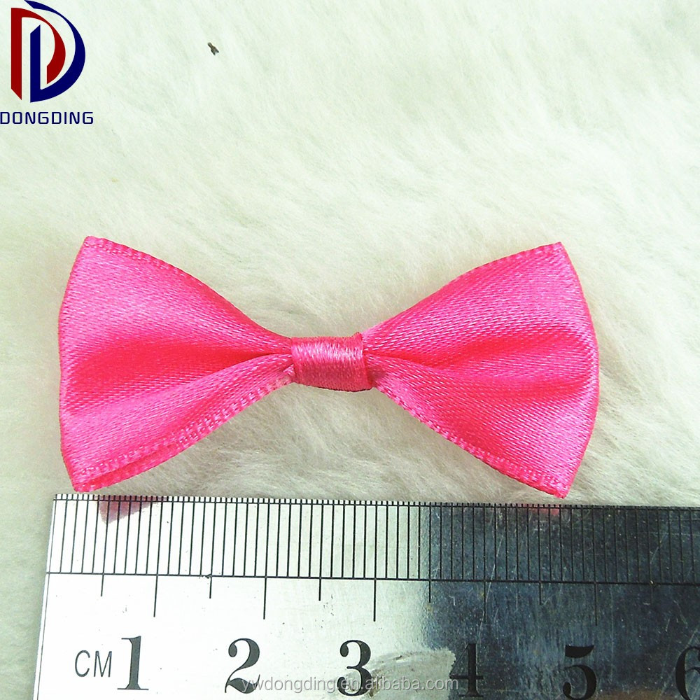 Low price wholesale pre made mini satin ribbon bow,red dog grooming bows