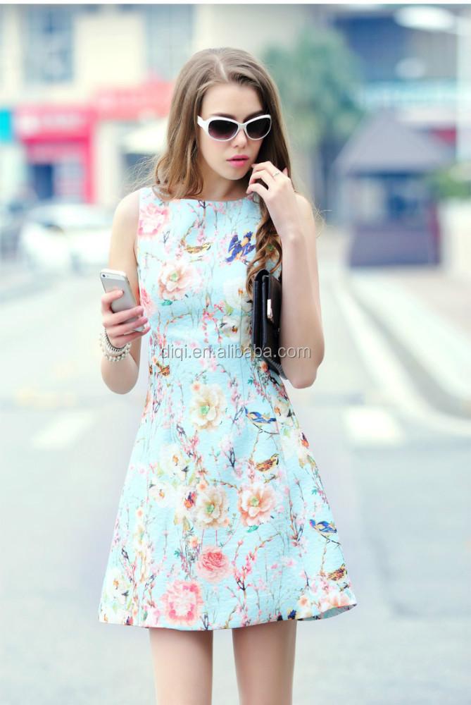 aeef1022d065c الصيف القطن الزهور طباعة أكمام الفساتين نمط اللباس كوريا 2015 اللباس موضة  الصيف