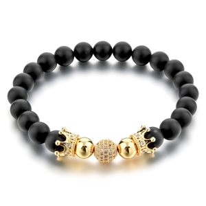 Fashion Natural Black Agate CZ diamond Crown Bead Bracelet Men 2018