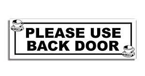 Buy Please Use Back Door Door Sticker Sign Tea Cup Coffee Shop