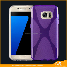 Popular X Line Design Mobile Phone Case Gel Cover For Samsung S7 Rubber TPU light case