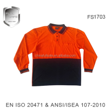 long sleeve 2 tone polo shirt