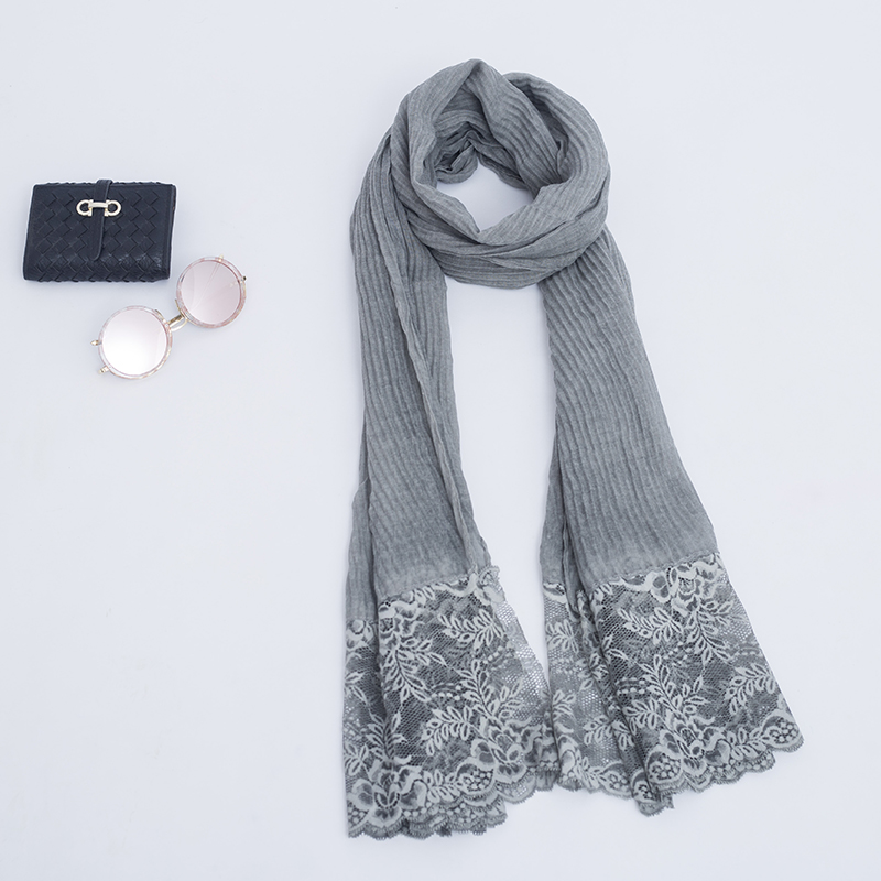 Most Popular Imitate Silk Veil Scarf With Embroidery Floral Women Pretty Headscaves For Arab