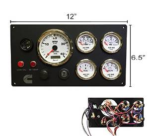 Cummins Instruments Panel Custom Made w/ Wiring Harness Pigtail, Single or Dual Station