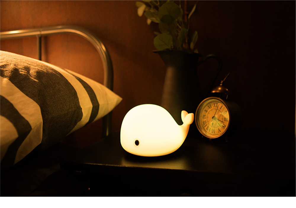 USB Rechargeable Cute Dolphin Touch Night Light Multicolor LED Light Silicone Gel Pat Night Lamp for Child Bedroom Desk Light