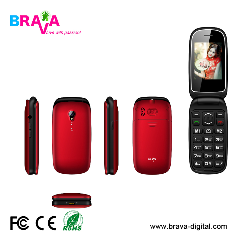 Dual SIM Card 3G Senior Flip phone with SOS, calmshell feature mobile phone Factory OEM