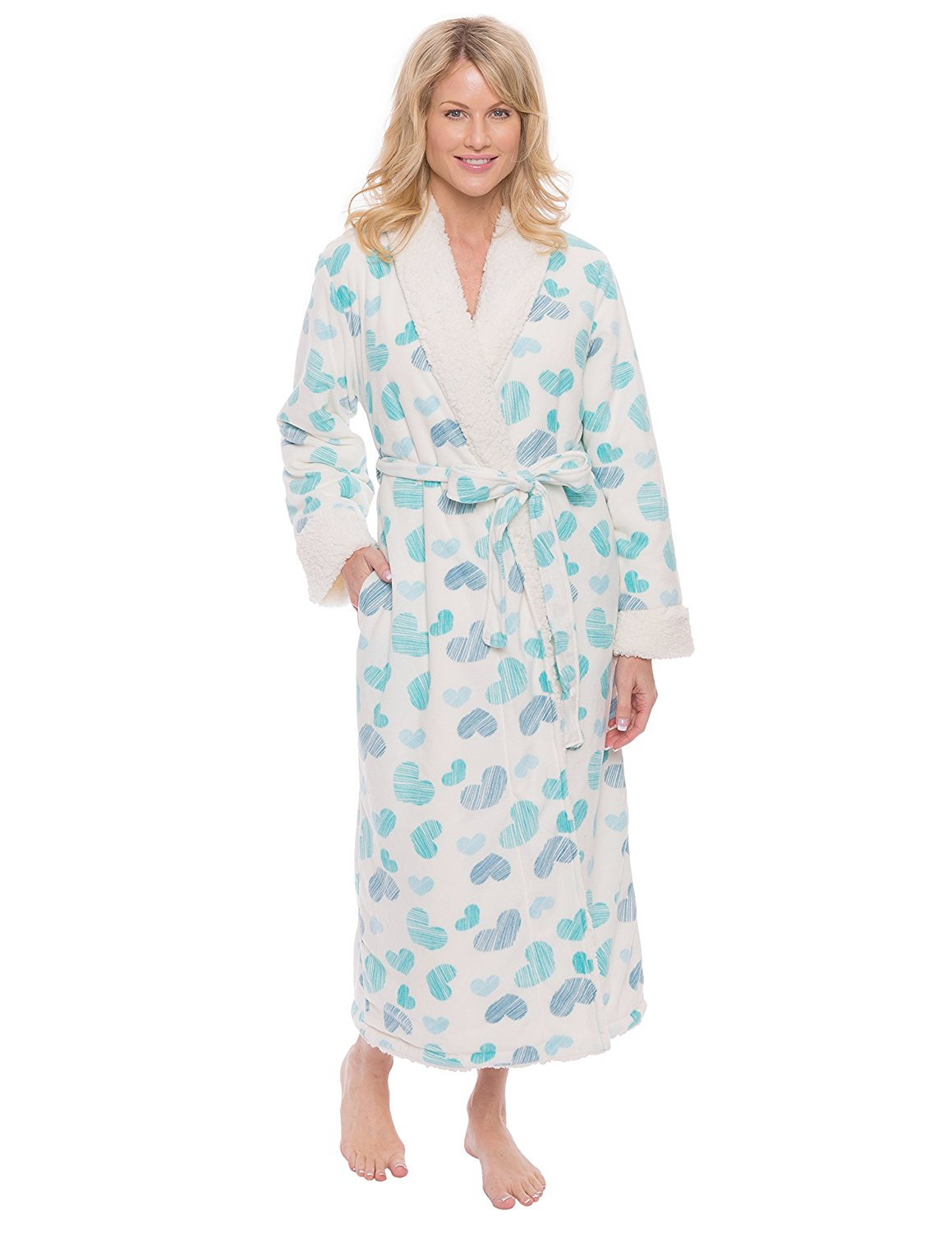 Get Quotations · Noble Mount Women s Premium Microfleece Shearling Lined  Robe 8ecae13ff